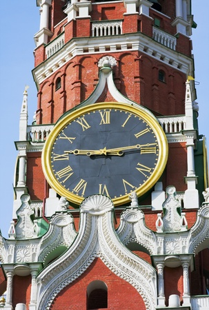 spassky: Kremlin chimes of the Spassky Tower. Moscow. Russia. Stock Photo