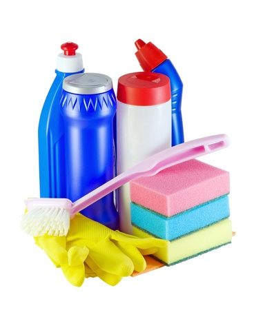 different cleaners for home and kitchen isolated photo