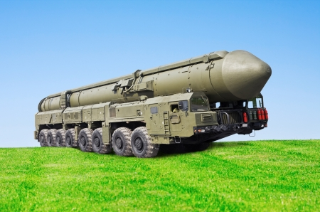 ballistic: intercontinental ballistic missile Topol-M is going on the field Stock Photo