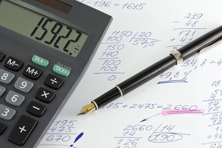 perdidas y ganancias: calculadora y bol�grafo control sobre los c�lculos de beneficios, p�rdidas, etc