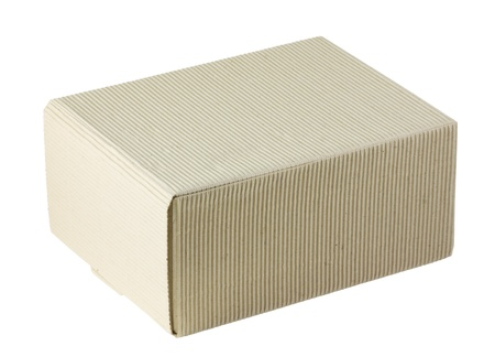 fluting: closed fluting cardboard box isolated on white Stock Photo