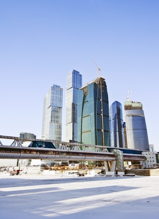 moscow city: business center Moscow City and a pedestrian bridge over the river Stock Photo