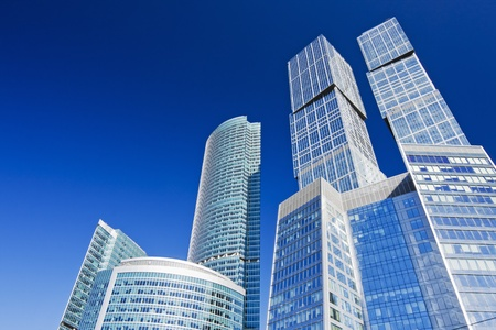 modern skyscrapers on a background of blue sky  photo