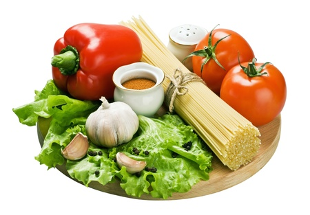 spaghetti and fresh vegetables isolated on white background Stock Photo - 12027848