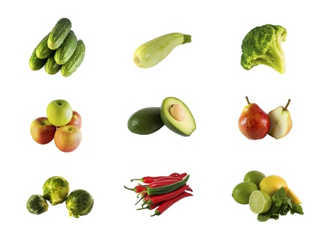 Various fruits and vegetables isolated on white  photo