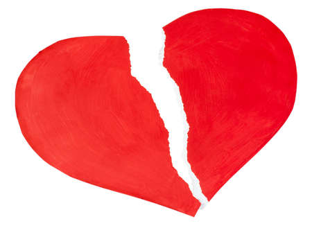 broken unity: red heart made of paper torn isolated on a white background