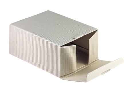 fluting: open fluting cardboard box isolated on white