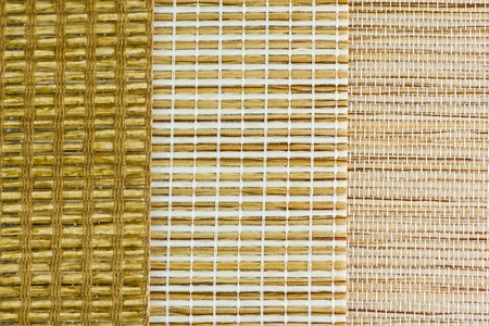 three textured samples of blinds from rattan Stock Photo - 12155688