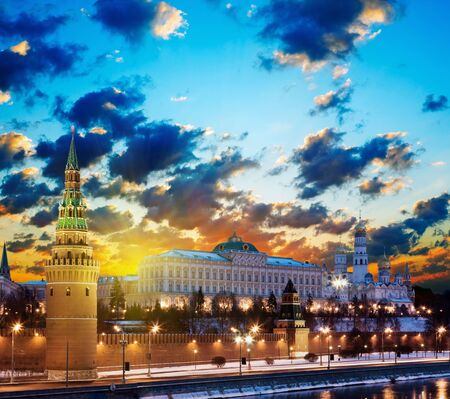 Moscow Kremlin in fires by cold winter night. Russia Stock Photo - 12155721