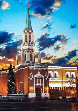 Nikolskaya tower of Moscow Kremlin at Red Square at night, Russia   photo