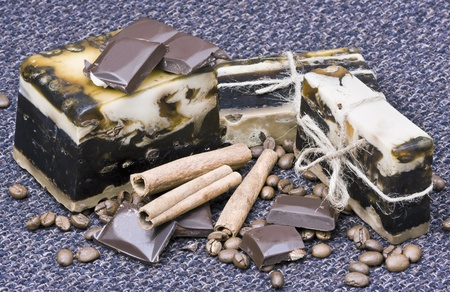 handmade soap with the aroma of coffee and chocolate photo