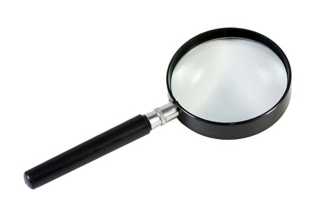 magnifying glass with a black pen isolated on white background Stock Photo - 12455043