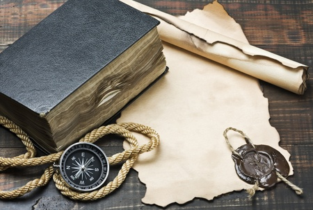rescue west: The Bible and compass on old paper