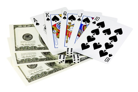 poker for money isolated on a white background photo