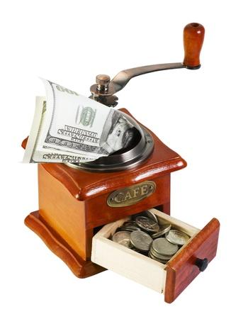 monetary: MONETARY GRINDER isolated on a white background