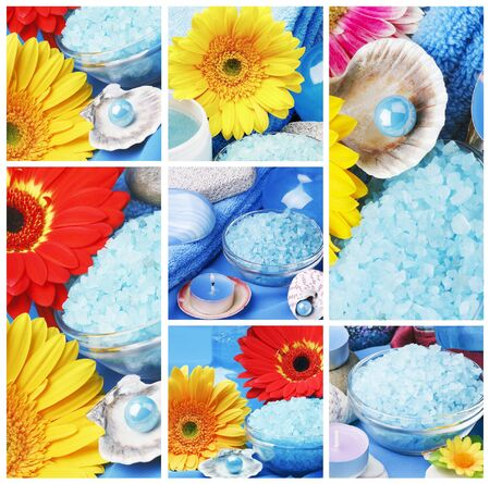 collage of spa accessories and items for aromatherapy photo