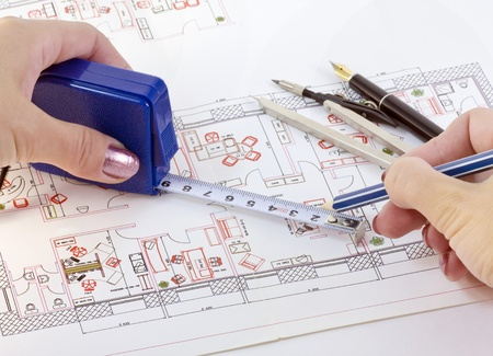 Various drawing on the layout of office supplies Stock Photo - 12457065