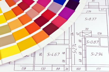 samples of paint colors on the layout of the premises����� Stock Photo - 12457035