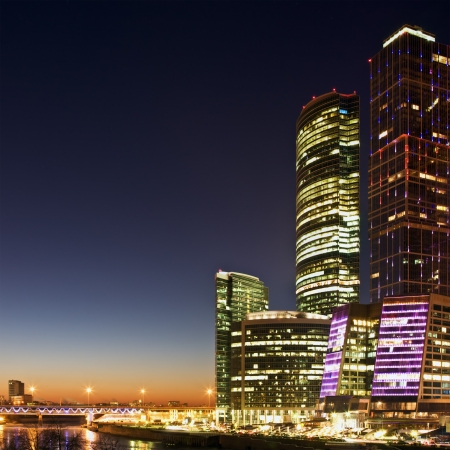Skyscrapers International Business Center (City) at night, Moscow, Russia  photo