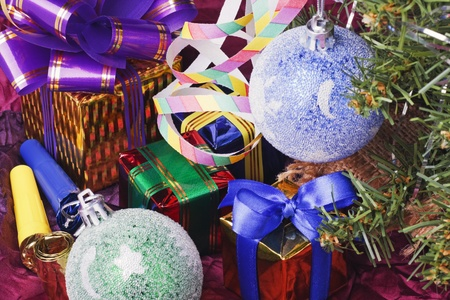 decoration of the balls on the Christmas tree and gifts photo