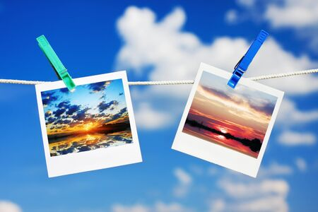 photos with the sunset and sunrise are hanging on a rope photo