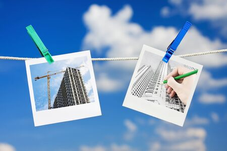 Photos of the drawings and planning construction skyline  Stock Photo - 12832495