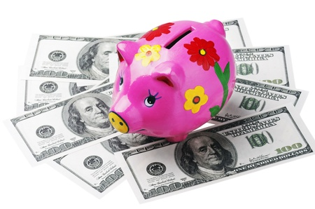 piggy bank is a dollar isolated on white background Stock Photo - 12832306