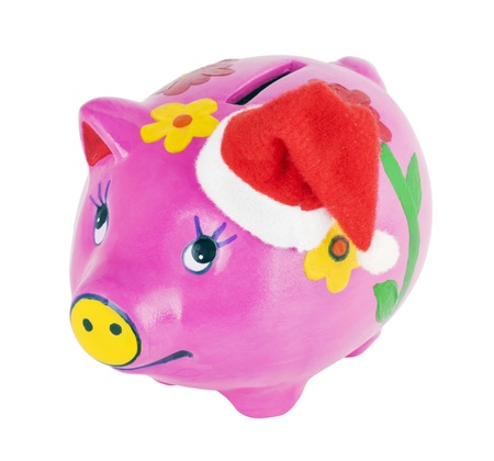 pig piggy bank isolated on white background photo