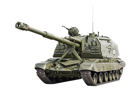 MSTA-S 2S19 152mm Self-Propelled Howitzer isolated on a white background    photo