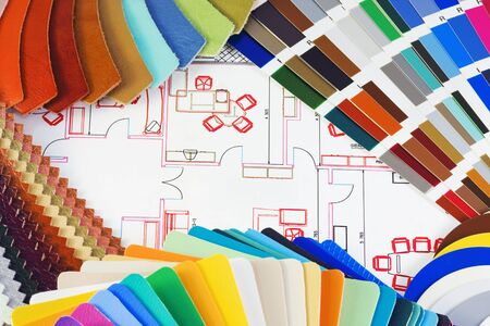 different patterns of colored textiles, leather, upholstery fabric photo