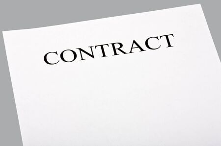 blank contract isolated on gray background photo