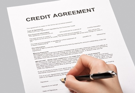 put a signature on an agreement credit Stock Photo - 13212957