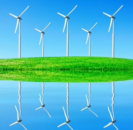 wind power on the background of the blue sky Stock Photo - 13907529
