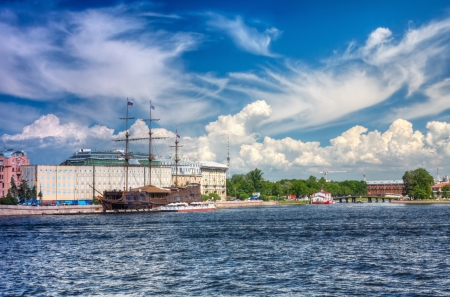 Old frigate on the Neva River in St  Petersburg  photo