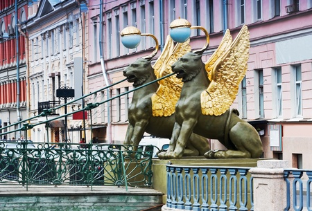 Griffon sculpture of Bank bridge in St Petersburg  photo