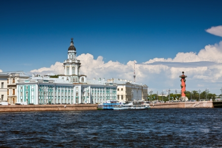 view of the landmarks of St. Petersburg Kunstkammer and the Rostral Columns Stock Photo - 14223404