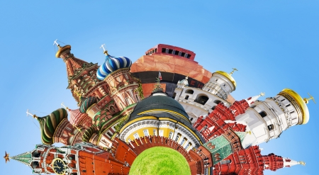 spassky: collage of sights and symbols of Moscow