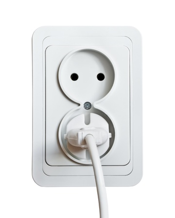 white power outlet and socket isolated on white   photo