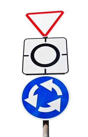 symbolization: Give way sign with traffic circle  Stock Photo