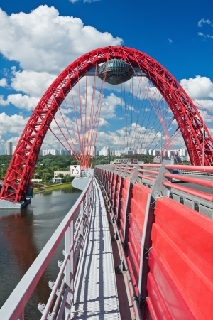 Modern suspension bridge  Moscow  Russia  Zhivopisny bridge