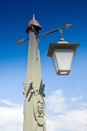 old lamp Troitsky Bridge Peter and Paul Fortress, St. Petersburg, Russia photo