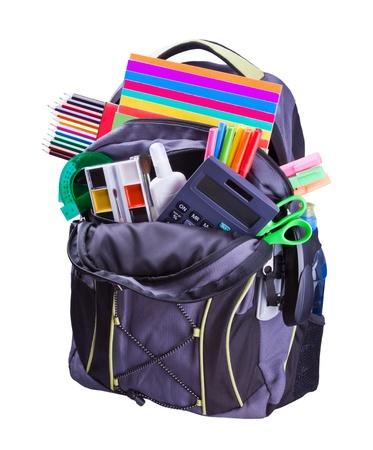 convivencia escolar: mochila con útiles escolares que incluyen, cuadernos, bolígrafos, lápices, reglas y pegamento