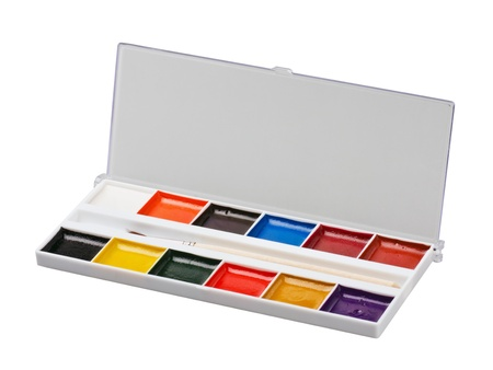 Aquarelle colors in a plastic box isolated on a white background photo