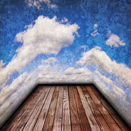 Texture of perspective Old wood floor and cloudy sky  photo