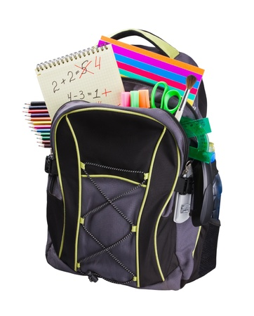 schoolbag with supplies for education photo