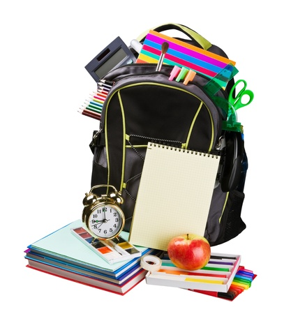 schoolbag with supplies for education isolated on white photo