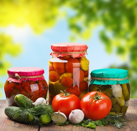 canned and fresh vegetables on the background of nature photo