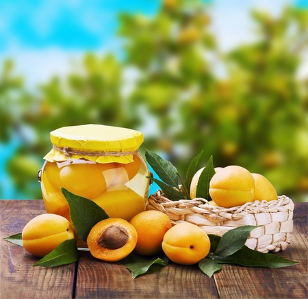 fresh and canned peaches in the background of nature Stock Photo - 14758363