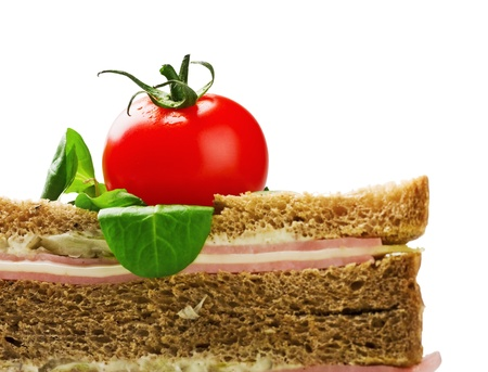 chese: sandwich with ham and chese, tomato isolated on white background Stock Photo