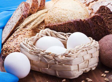 bread, flour and eggs all baking homemade bread photo